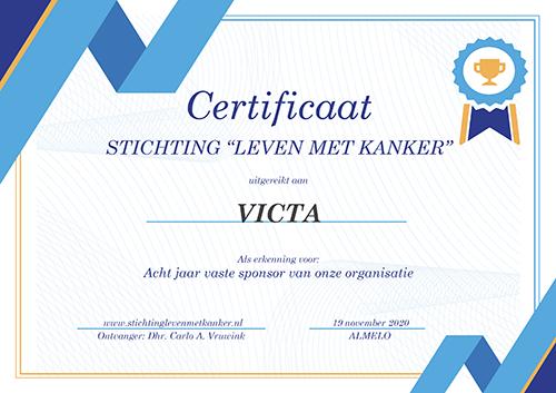 Victa is acht jaar vaste sponsor van Stichting Leven met kanker